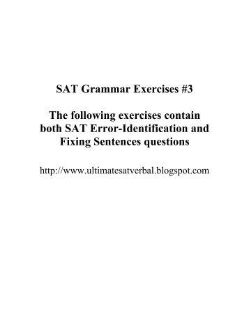 SAT Grammar Exercises #1