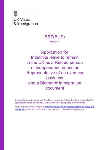 Form SET(BUS) - UK Border Agency - the Home Office