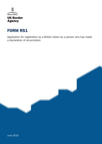 FORM RS1 - UK Border Agency - the Home Office
