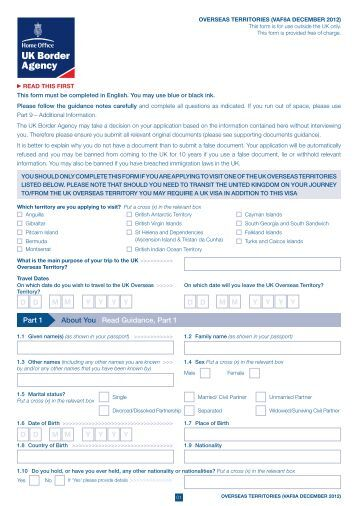 VAF8A application form - UK Border Agency - the Home Office