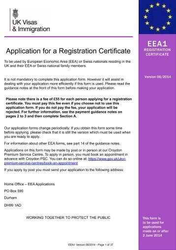 Form EEA1 - UK Border Agency - the Home Office