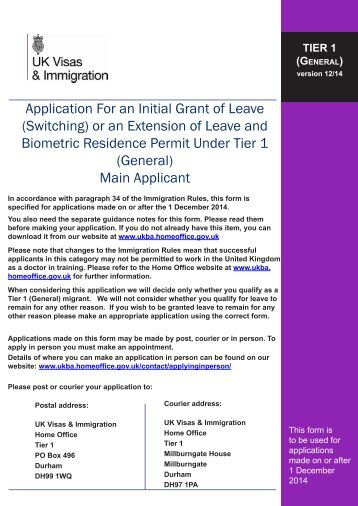 Tier 1 (General) application form - UK Border Agency - the Home ...