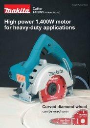 High power 1,400W motor for heavy-duty applications - Makita