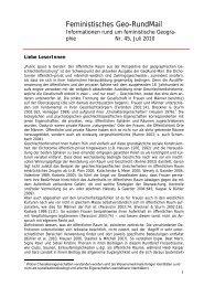 Feministisches Geo-RundMail - AK Geographie und Geschlecht