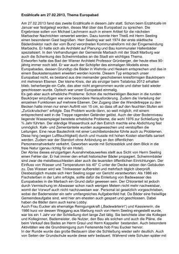 Protokoll Erzählcafe vom 27.02.2013