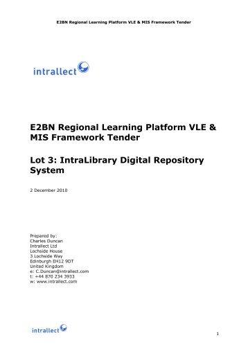 E2BN Regional Learning Platform VLE & MIS Framework Tender Lot 3