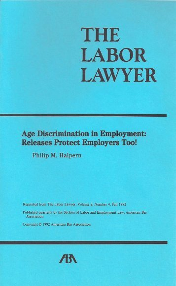 Age Discrimination in Employment: Releases Protect Employers Too!
