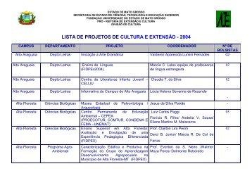 Projetos de Extensão 2005 - Unemat