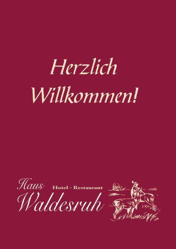 aktuellen Speisekarte - Hotel Restaurant Haus Waldesruh
