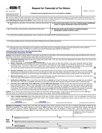 request for transcript of tax return- form 4506-t (rev