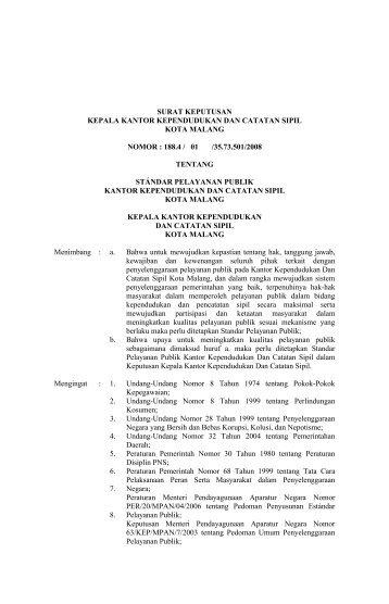 Dinas Kependudukan Dan Catatan Sipil - Pemerintah Kota Malang
