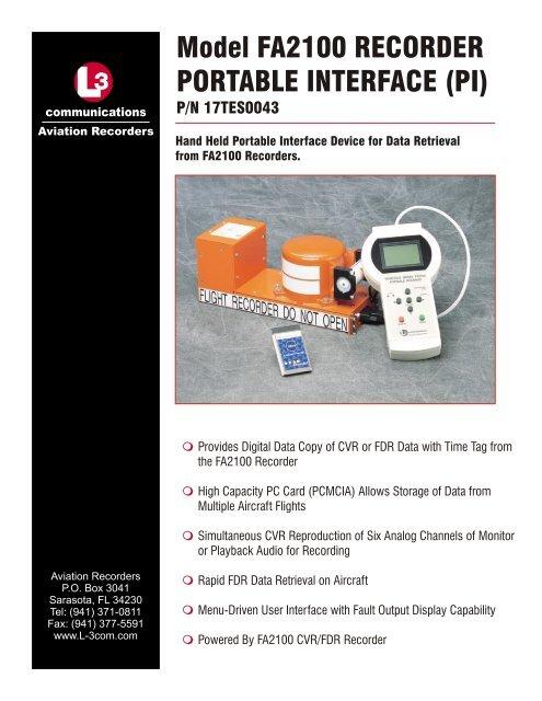 Model FA2100 RECORDER PORTABLE INTERFACE (PI)P/N ...