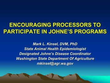 Washington State's JD Program to Encourage Producer Participation