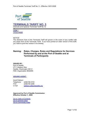 Terminals Tariff No. 5 - Port of Seattle