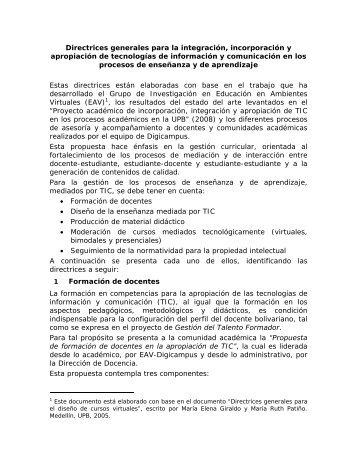 Descargue aqui el documento completo con las Directrices - EAV
