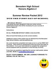 Summer Review for Students entering Algebra 2 or Honors