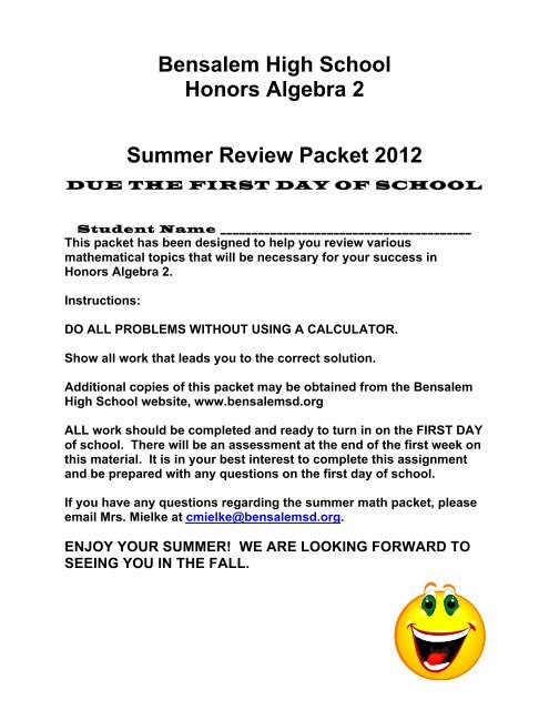 bensalem high school honors algebra 2 summer review packet. Black Bedroom Furniture Sets. Home Design Ideas