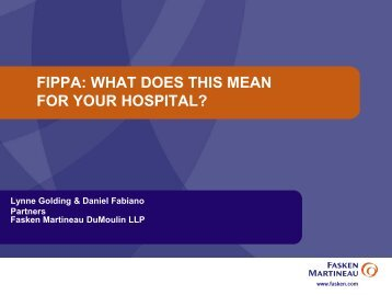 FIPPA: WHAT DOES THIS MEAN FOR YOUR HOSPITAL? - Ontario ...