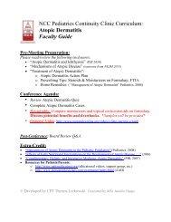 NCC Pediatrics Continuity Clinic Curriculum: Atopic Dermatitis ...