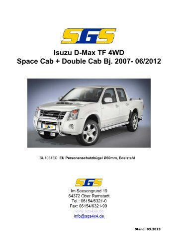 D-Max Typ TF Space Cab, Double Cab Bj. 2007-2012 - SGS