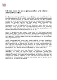 Ein genussvoller und höchst aktiver Dezember - Eric Schneider