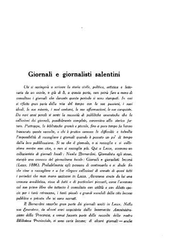 Giornali e giornalisti salentini - culturaservizi.it