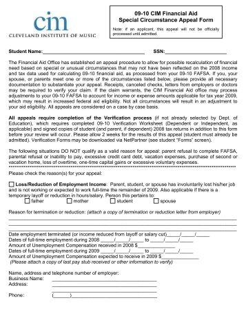 Self Support Appeal Form