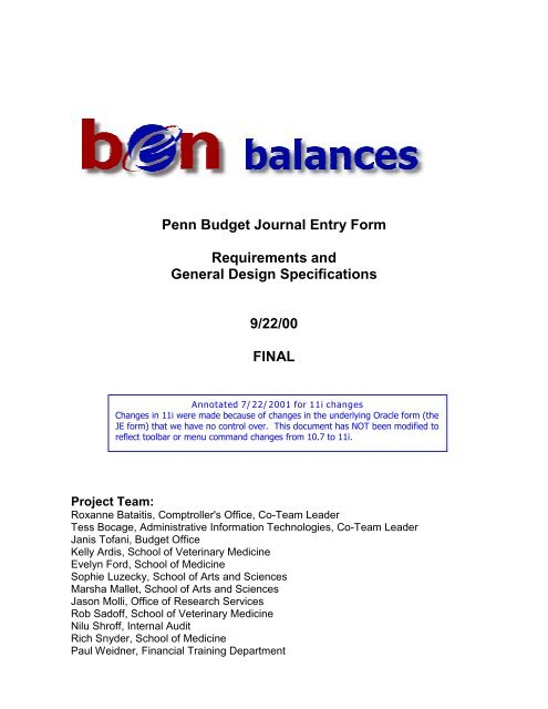 Penn Budget Journal Entry Form Requirements And General Design