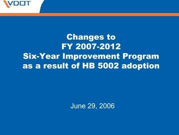 Updated Six-Year Improvement Program