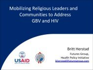 Mobilizing Religious Leaders and Communities to Address GBV and ...