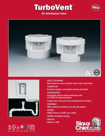 the turbo vent air admittance valve brochure - RSL SALES