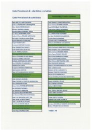 Lista Provisional de admitidos y exluidos: