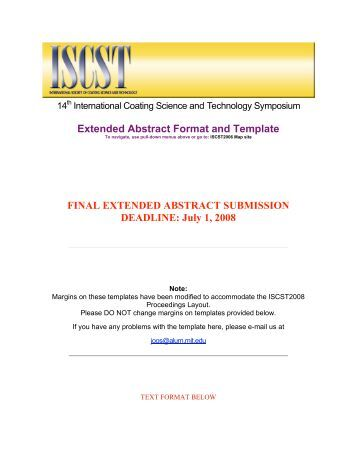Template For Extended Abstract Of Jsst 2012