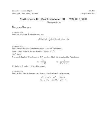 Mathematik für Maschinenbauer III — WS 2010/2011 ...