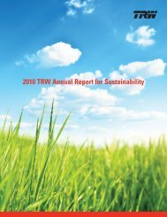 2010 TRW Annual Report for Sustainability - Automotive Industry ...