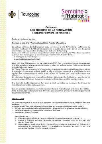 Concours LES TRESORS DE LA RENOVATION ... - Tourcoing