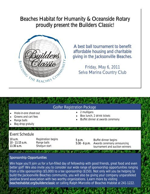 Builders Classic - Beaches Habitat for Humanity