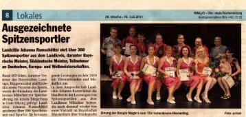 Sportlerehrung Hallo vom 16.07.2011 - Boogie Magic's Hohenbrunn