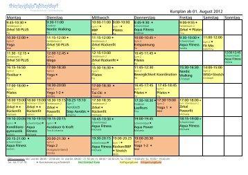 Kursplan ab 01. August 2012 Montag Dienstag Mittwoch ...