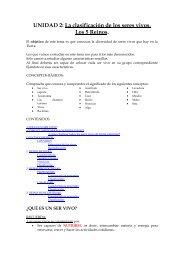 UNIDAD 2: La clasificación de los seres vivos. Los 5 Reinos.
