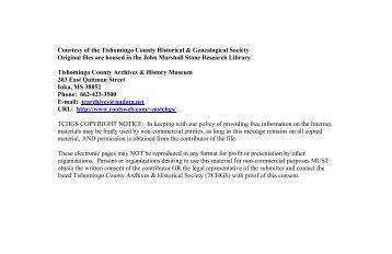 Courtesy of the Tishomingo County Historical & Genealogical ...