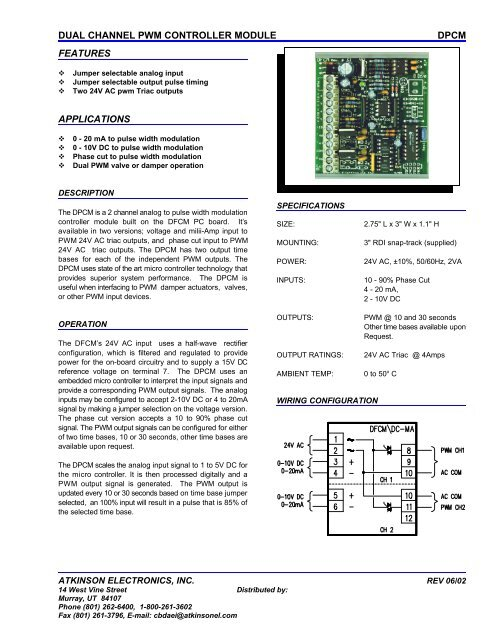dual channel pwm controller module dpcm features applications