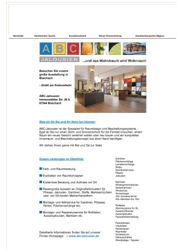 Abc Jalousien.10 Free Magazines From Handwerkerportal Allgaeu De