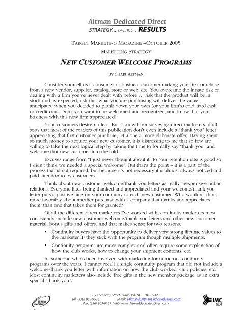 NEW CUSTOMER WELCOME PROGRAMS - Altman Dedicated Direct