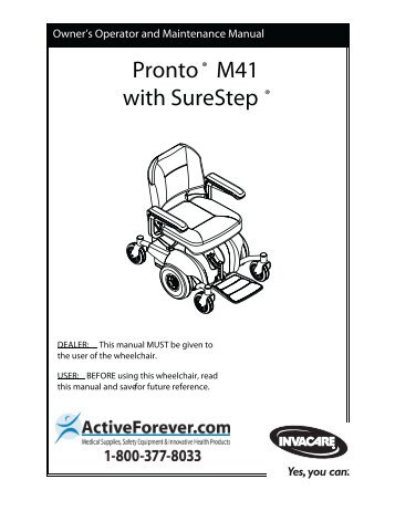 Invacare Pronto Power wheelchair User Manual (.pdf) - ActiveForever
