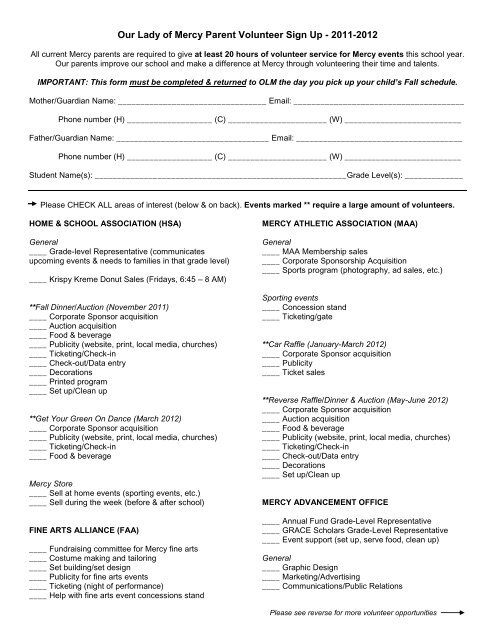 Our Lady of Mercy Parent Volunteer Sign Up - 2011-2012
