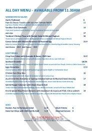 all day menu - available from 11.30am - Sandbar Cafe & Kiosk