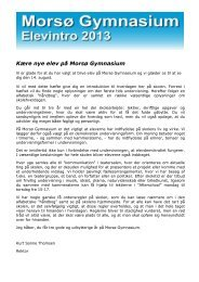 Introduktion 2013 - Morsø Gymnasium