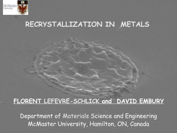 recrystallization in metals - Course Notes - McMaster University
