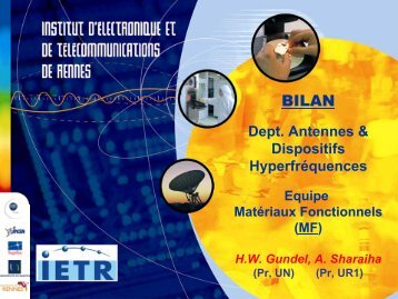 Bilan Équipe Matériaux Fonctionnels (MF) - IETR